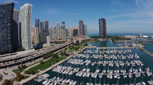 Aerial view of DuSable Harbor